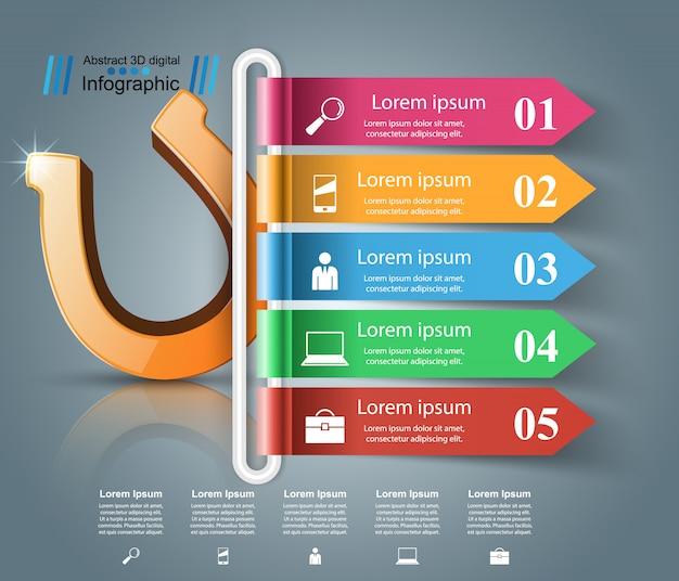 Ícone de ferradura 3d - infográfico de negócios.