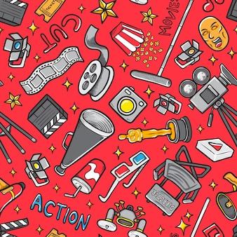 Ícone de filme doodle definir padrão de fundo sem emenda