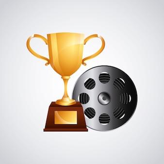 Ícone de fita dourada de troféu e filme de carretel
