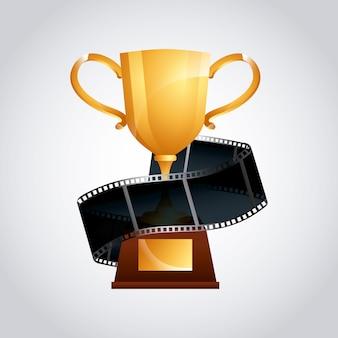 Ícone de fita dourada de troféu e filme