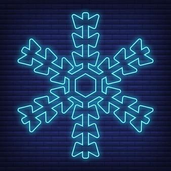 Ícone de floco de neve de neve brilhar estilo néon, conceito condição meteorológica delinear ilustração vetorial plana, isolada no preto. fundo de tijolo, material de rótulo de clima da web.