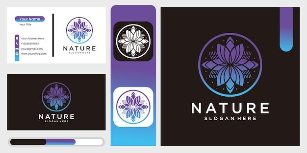 Ícone de flor de natureza vetorial e modelo de design de logotipo em estilo de contorno