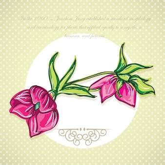 Ícone de flor fúcsia (para decoração) em fundo vintage