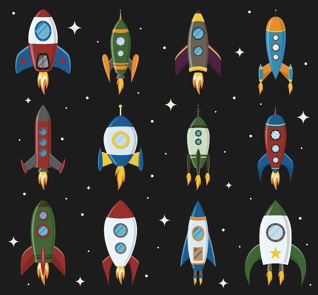 Ícone de foguete espacial retro definido em um estilo simples elementos de design para plano de fundo com inicialização do projeto e ideia criativa do processo de desenvolvimento