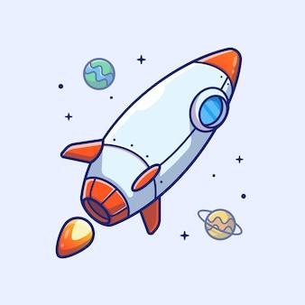 Ícone de foguete. foguete e planetas, ícone de espaço branco isolado