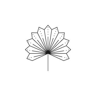 Ícone de folha de palmeira seca no estilo moderno de forro mínimo. emblema de boho de folha tropical de vetor. ilustração floral para criar logotipo, estampa, camisetas e estampas de parede, tatuagem, postagem em mídia social e histórias
