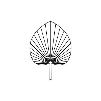 Ícone de folha de palmeira seca no estilo moderno de forro mínimo. emblema de boho de folha tropical de vetor. ilustração floral para criar logotipo, padrão, estampas de camisetas, design de tatuagem, postagem em mídia social e histórias