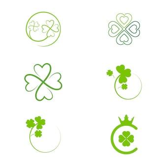 Ícone de folha de trevo verde design de modelo vetorial