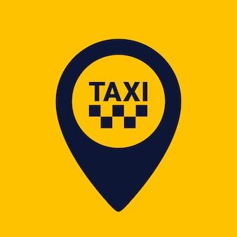 Ícone de formato do pino do mapa em fundo amarelo