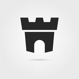 Ícone de fortaleza negra com sombra. conceito de marca da empresa, arco de defesa, fortificação, cidadela, prisão. isolado em fundo cinza. ilustração em vetor design de marca moderna tendência de estilo simples