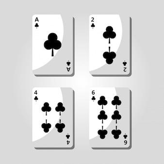 Ícone de fortuna de risco de jogo de cartas de trevo de pôquer