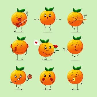 Ícone de fruta amarela laranja caricatura dos desenhos animados expressão emoticon fazendo atividade diária basquete guitarra flauta namaste comendo cantando música feliz alegre dança levar selfie se apaixonar