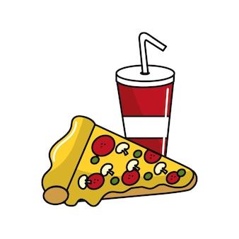 Ícone de fundo de refrigerante e pizza