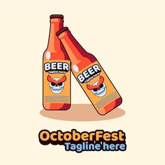 Ícone de garrafa de cerveja, mascote, festival de outubro