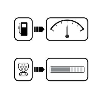 Ícone de gasolina e carregador de veículo elétrico