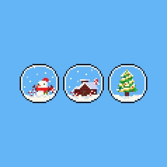 Ícone de globo de natal pixel art.