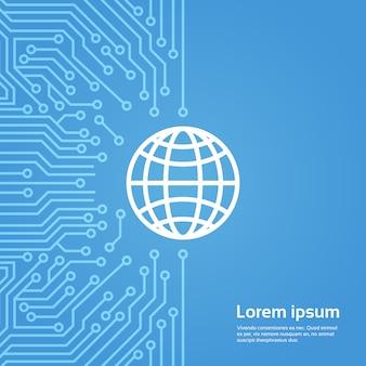 Ícone de globo terra sobre bandeira de fundo de chip de computador moterboard