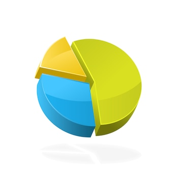 Ícone de gráfico de pizza 3d colorido