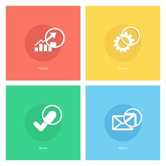 Ícone de gráfico, ícone de engrenagem, ícone de carrapato, ícone de correio com lupa.
