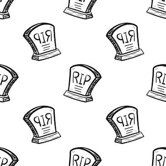 Ícone de grave doodle handdrawn padrão sem emenda. esboço preto desenhado de mão. sinal de símbolo dos desenhos animados. elemento de decoração. fundo branco. isolado. design plano. ilustração vetorial.