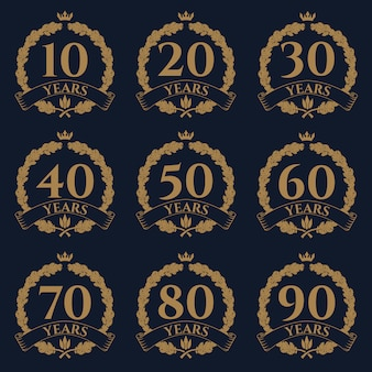Ícone de grinalda carvalho 10-100 aniversário.