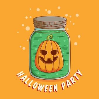 Ícone de halloween com abóbora na garrafa mágica ou jarra melhor uso para convite de banner da web de pôster