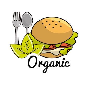 Ícone de hambúrguer com colher e garfo conceito orgânico