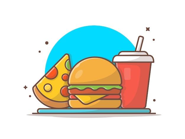 Ícone de hambúrguer com fatia de pizza e refrigerante icon ilustração
