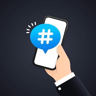 Ícone de hashtag no telefone