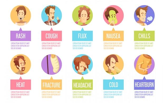 Ícone de homem de doença colorida e isolada dos desenhos animados conjunto com cefaléia fria calafrios descrições de erupção de fluxo