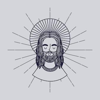 Ícone de homem de jesus cristo Vetor Premium