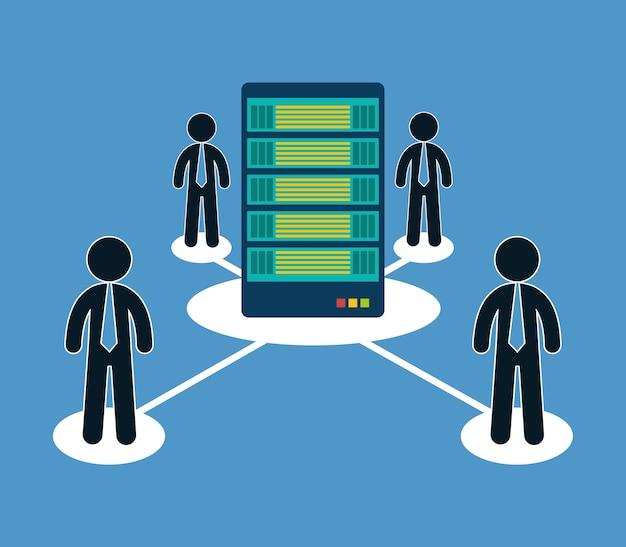 Ícone de hospedagem de pessoas de otimização de banco de dados