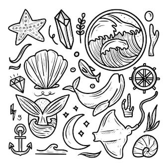 Ícone de ícone do mundo oceano dia doodle coleção de conjunto de ícones de desenho