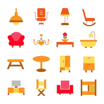 Ícone de ícones de mobiliário design de interiores ilustração do logotipo