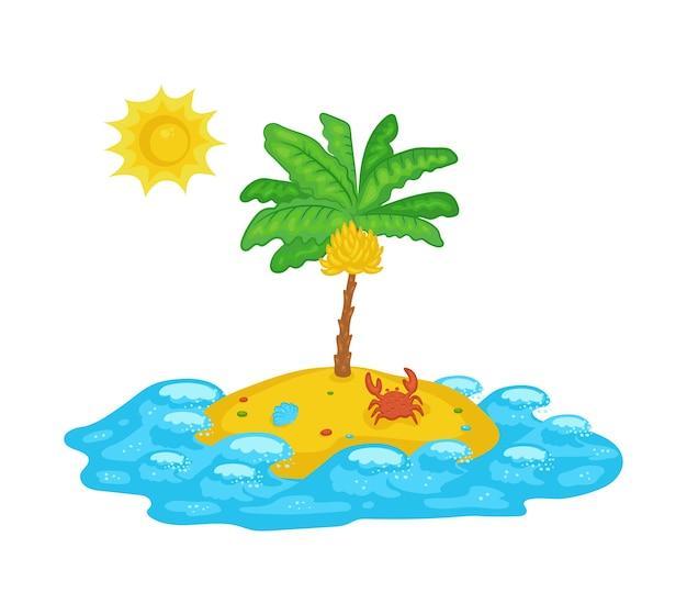Ícone de ilha deserta de oceano tropical com palmeira de banana, ilustração vetorial dos desenhos animados, isolada no fundo branco. férias de verão e sinal ou símbolo de descanso na praia.