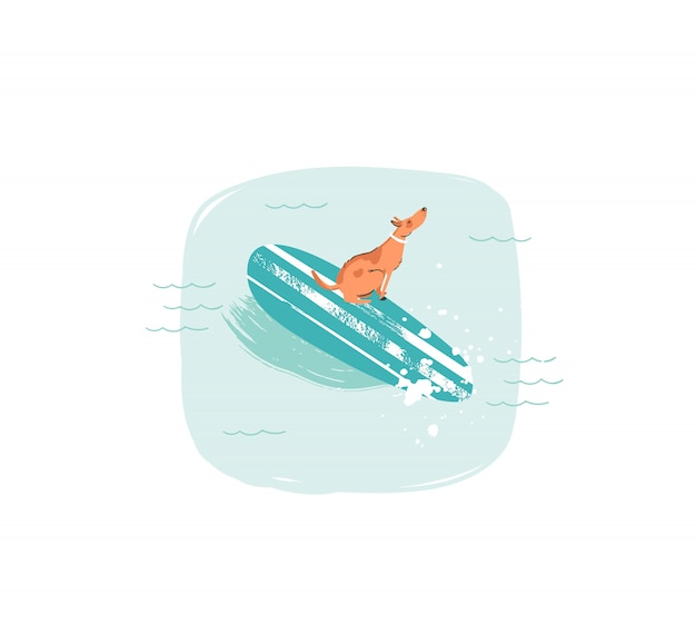 Ícone de ilustrações divertidas de tempo de verão desenhadas à mão com cachorro surfista nadando em longboard nas ondas do oceano azul sobre fundo branco