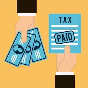 Ícone de imposto sobre ilustração vetorial de fundo laranja