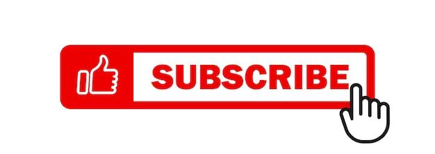 Ícone de inscrição com o cursor. botão de sino e cursor de mão. botão vermelho para inscrever-se no canal, blog