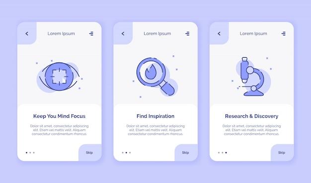Ícone de integração criativo, mantenha sua mente focada, encontre campanha de descoberta de pesquisa de inspiração para aplicativos móveis, modelo de aterrissagem estilo simples