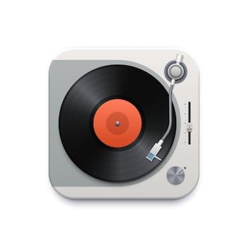Ícone de interface do reprodutor de disco de vinil musical