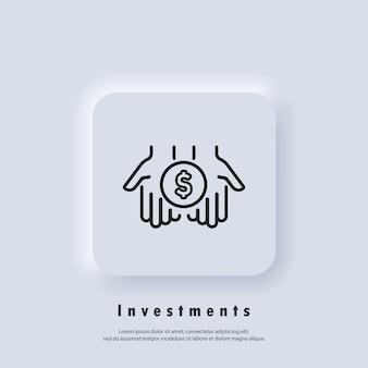 Ícone de investimentos. dólar no ícone de linha fina de palmas. mão simples com uma moeda. ícone de transferência de dinheiro. vetor. botão da web da interface de usuário branco neumorphic ui ux. neumorfismo