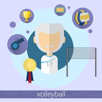 Ícone de jogador de voleibol de homem sênior