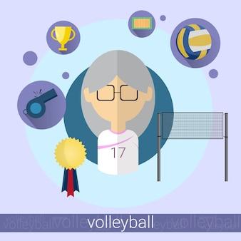 Ícone de jogador de voleibol de mulher sênior