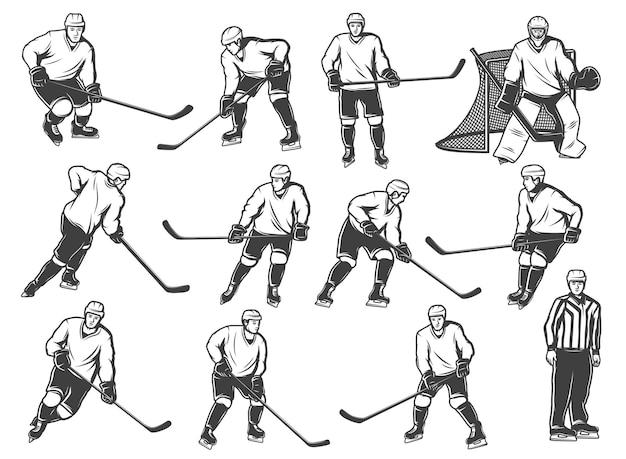 Ícone de jogadores do gelo hokey, equipe esportiva jogando na arena de pista de gelo