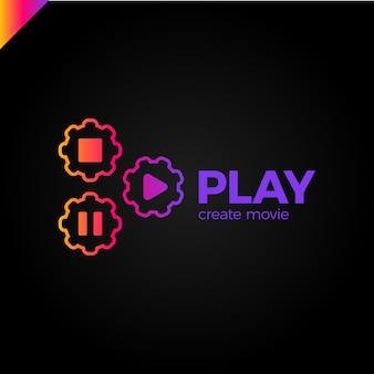 Ícone de jogo com logotipo da engrenagem de vídeo