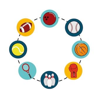 Ícone de jogos de esporte de diferentes cores
