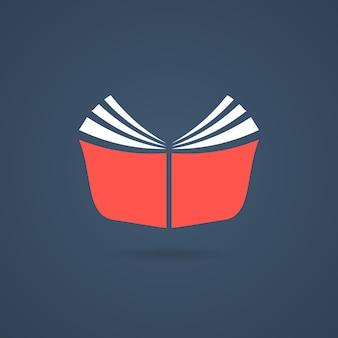 Ícone de jornal vermelho com sombra. conceito de livreto, estante, ebook, leitor, livro de aula, e-book, álbum de recortes. isolado em fundo azul escuro. ilustração em vetor design de logotipo de livro moderno tendência estilo plano