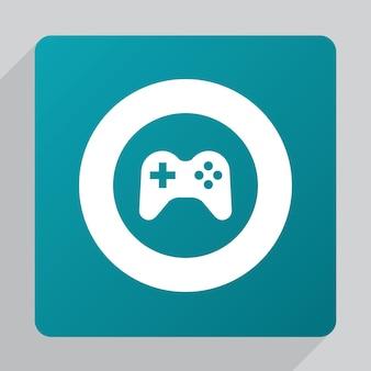Ícone de joystick plano, branco sobre fundo verde