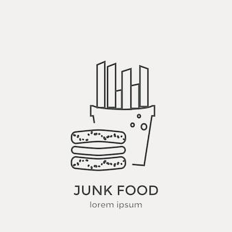Ícone de junk food. conjunto de ícones modernos de linha fina. elementos gráficos da web de design plano.