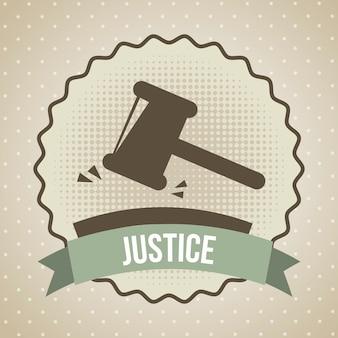 Ícone de justiça sobre ilustração vetorial de fundo bege